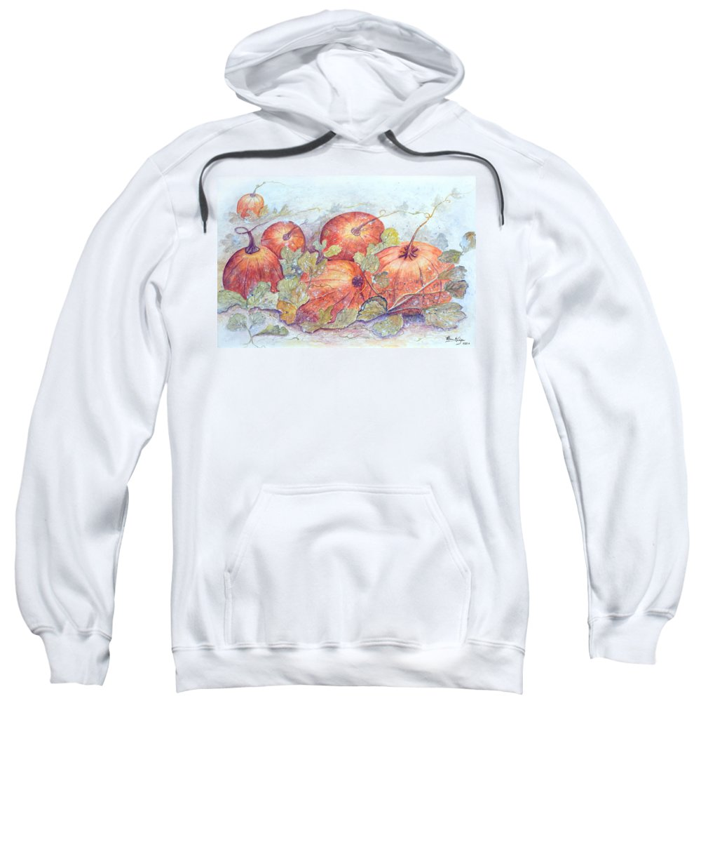Pumpkin Patch Sweatshirt featuring the painting Frost on the Pumpkin by Ben Kiger