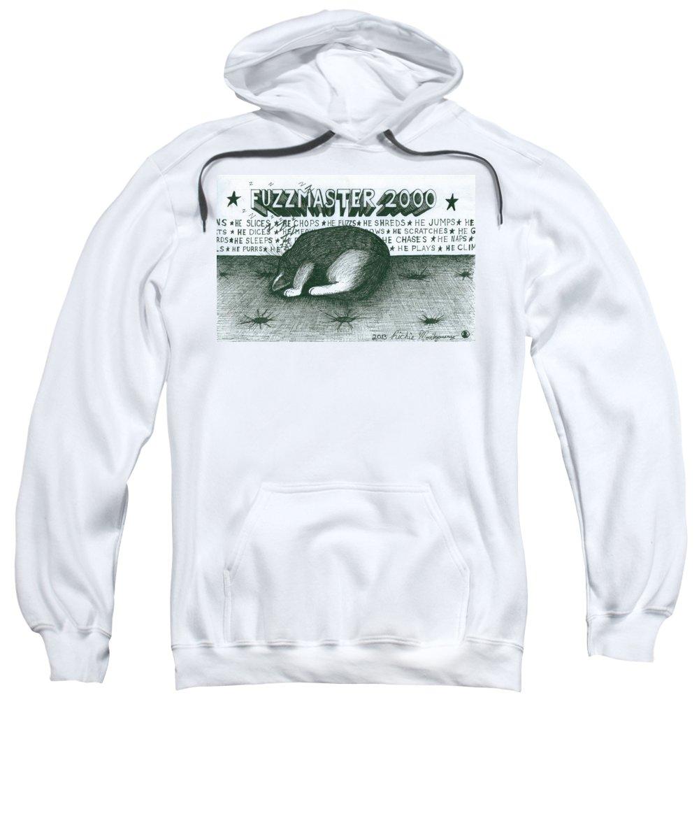Fuz Sweatshirt featuring the painting Fuzzmaster 2000 by Richie Montgomery