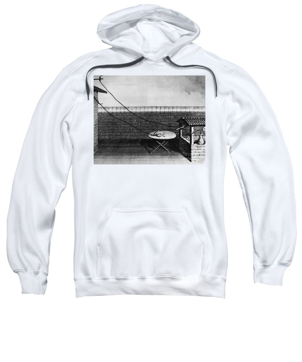 18th Century Sweatshirt featuring the photograph Galvani Galvanism - To License For Professional Use Visit Granger.com by Granger
