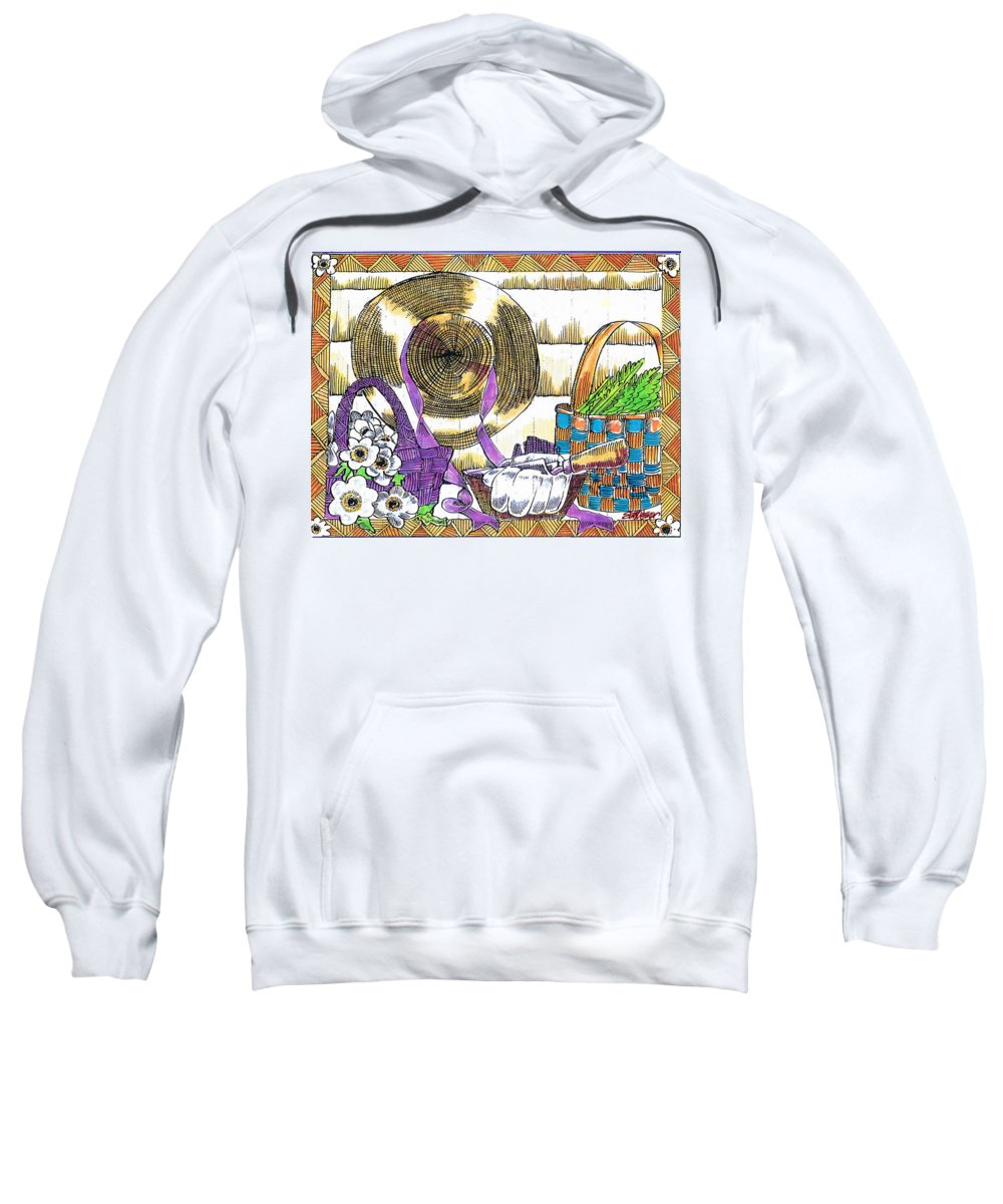 Gardener's Basket Sweatshirt featuring the drawing Gardener's Basket by Seth Weaver