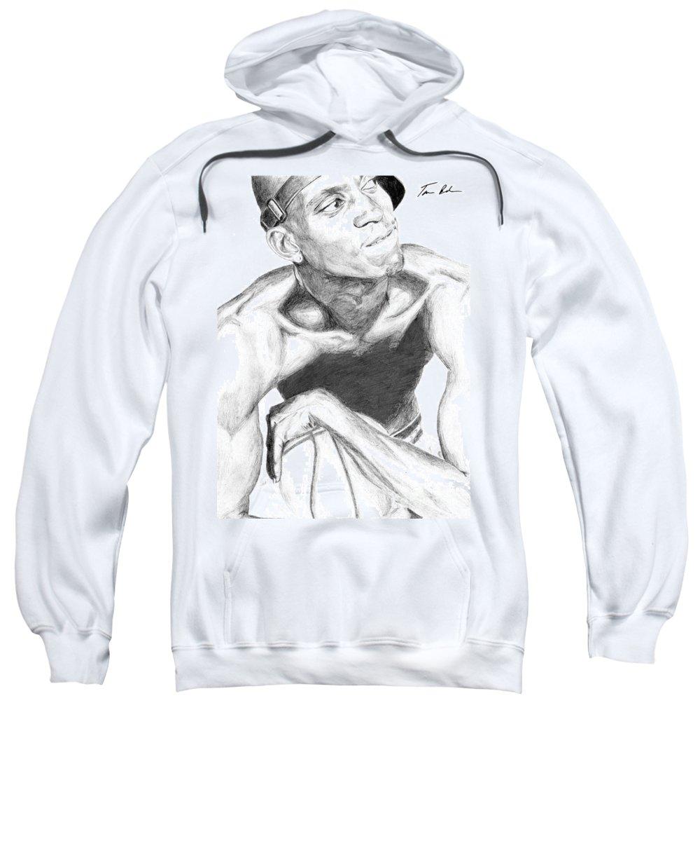 Garnett Sweatshirt featuring the drawing Garnett 2 by Tamir Barkan