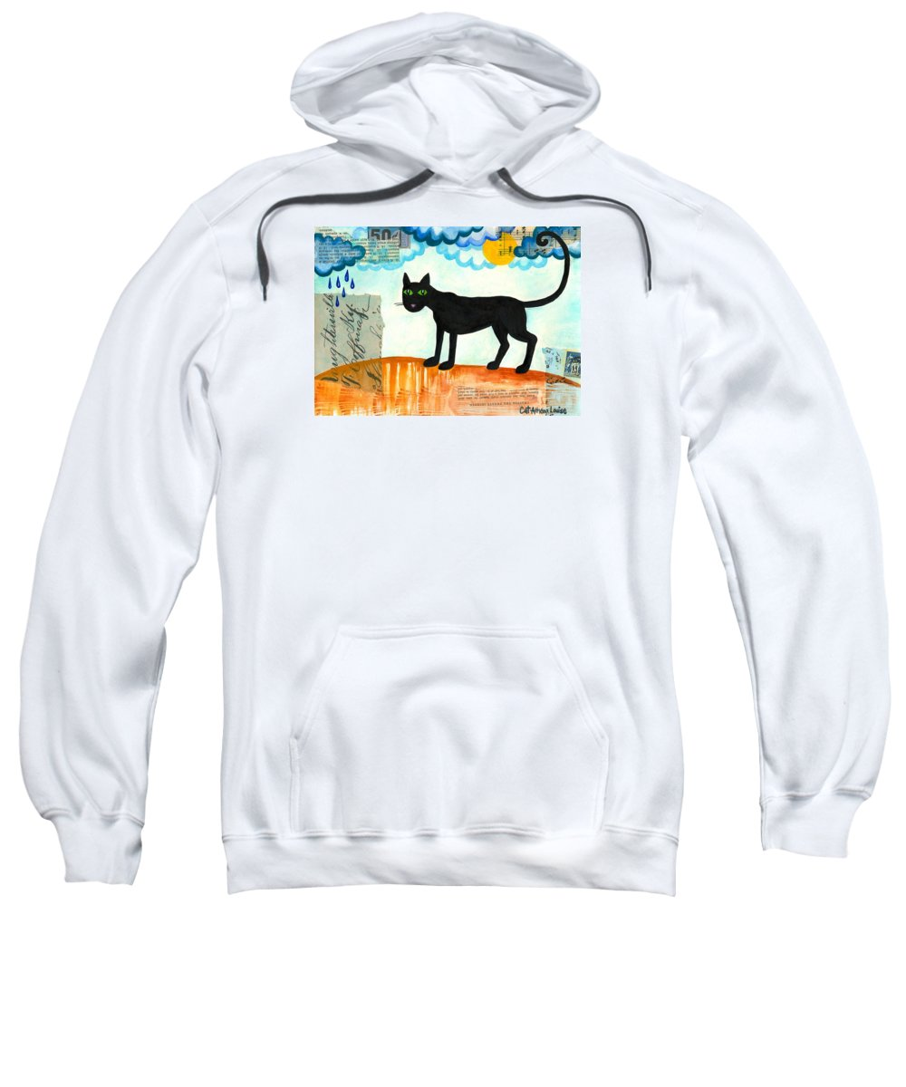 Cat Athena Louise Paintings Sweatshirt featuring the painting Gato Mexico by Catherine Athena Louise