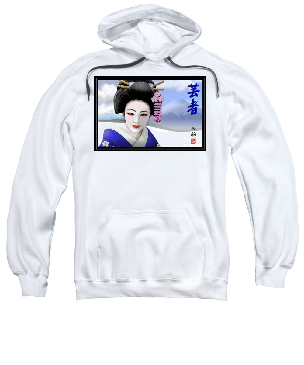 Geisha Art Sweatshirt featuring the digital art Geisha On Mount Fuji by John Wills
