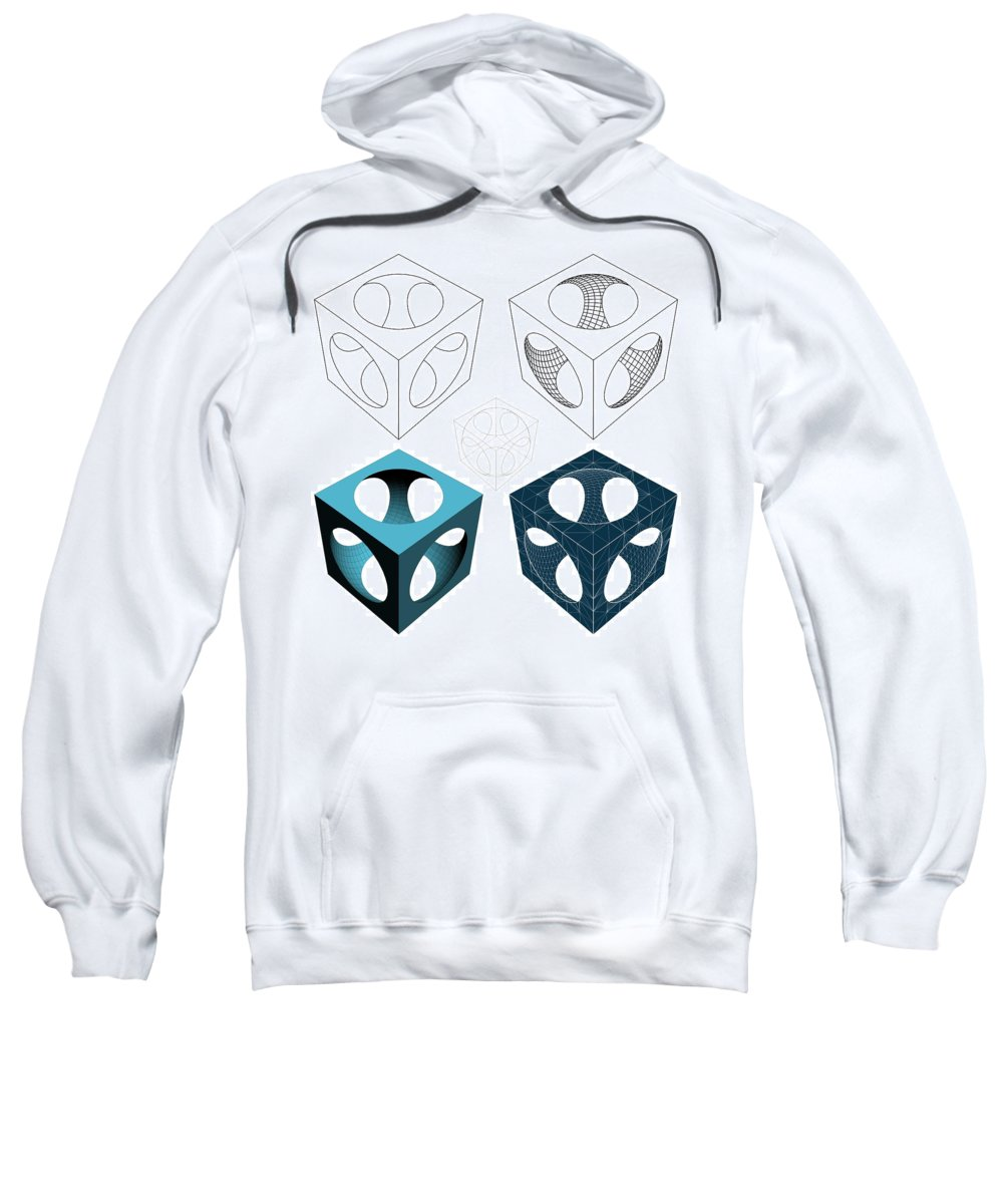 Abstract Sweatshirt featuring the digital art Geometric Subtraction Of Cube And Sphere by Nenad Cerovic