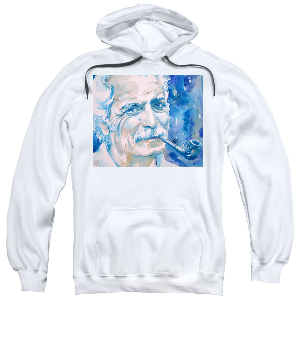 Georges Sweatshirt featuring the painting Georges Brassens - Watercolor Portrait by Fabrizio Cassetta