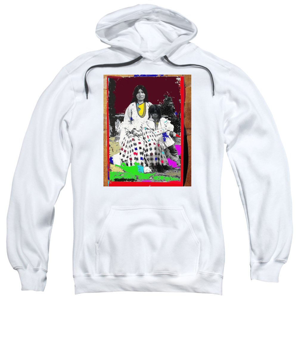 Geronimo's Wife Ta-ayz-slath And Child Unknown Date Collage 2012 Color Added Sweatshirt featuring the photograph Geronimo's Wife Ta-ayz-slath And Child Unknown Date Collage 2012 by David Lee Guss