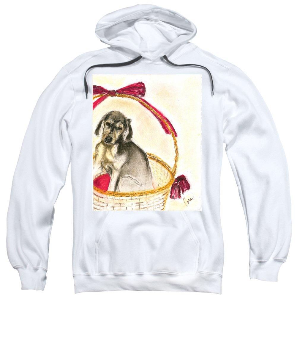 Dog Sweatshirt featuring the drawing Gift Basket by Cori Solomon
