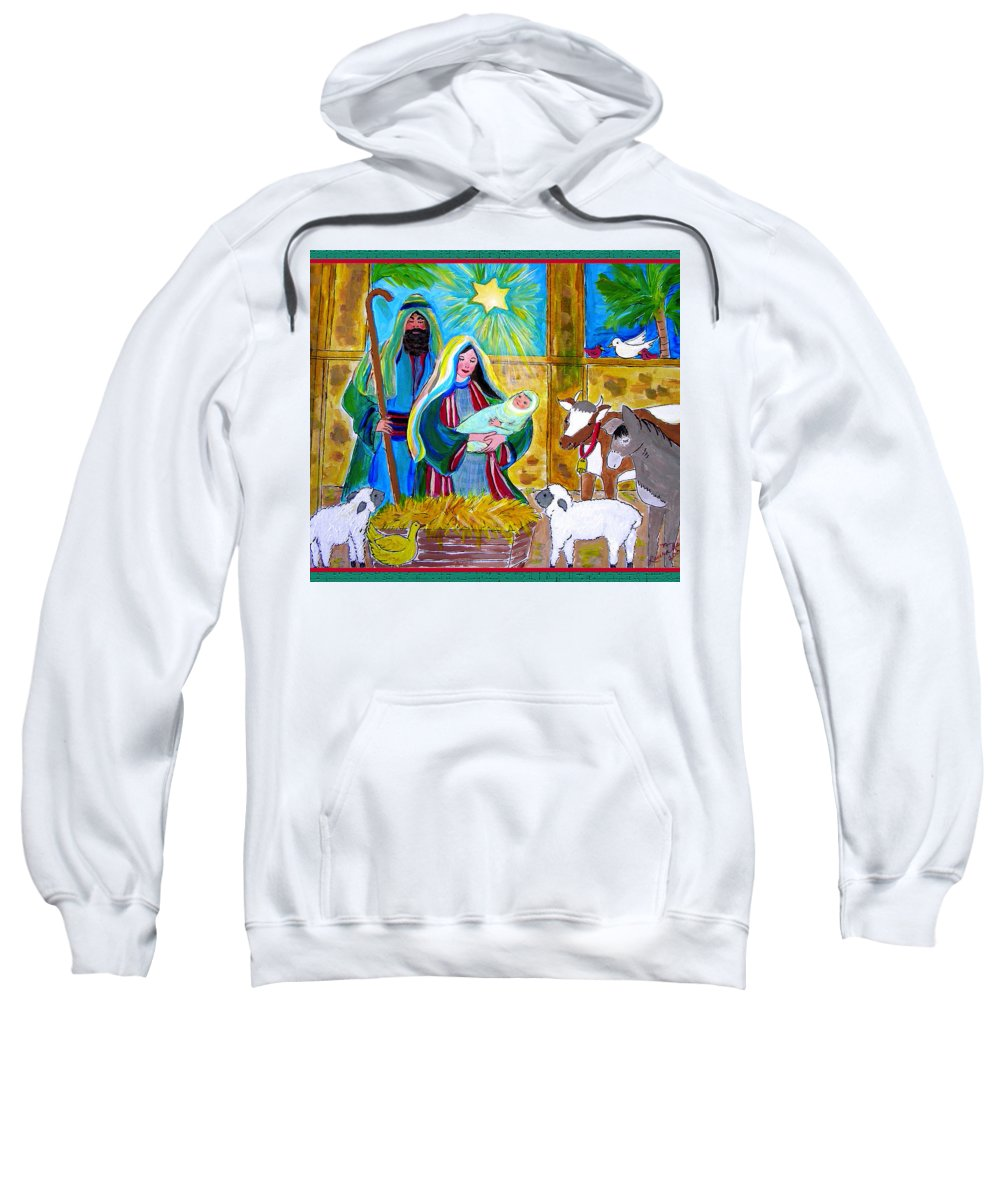 Nativity Sweatshirt featuring the painting Gift Of God by Laura Nance