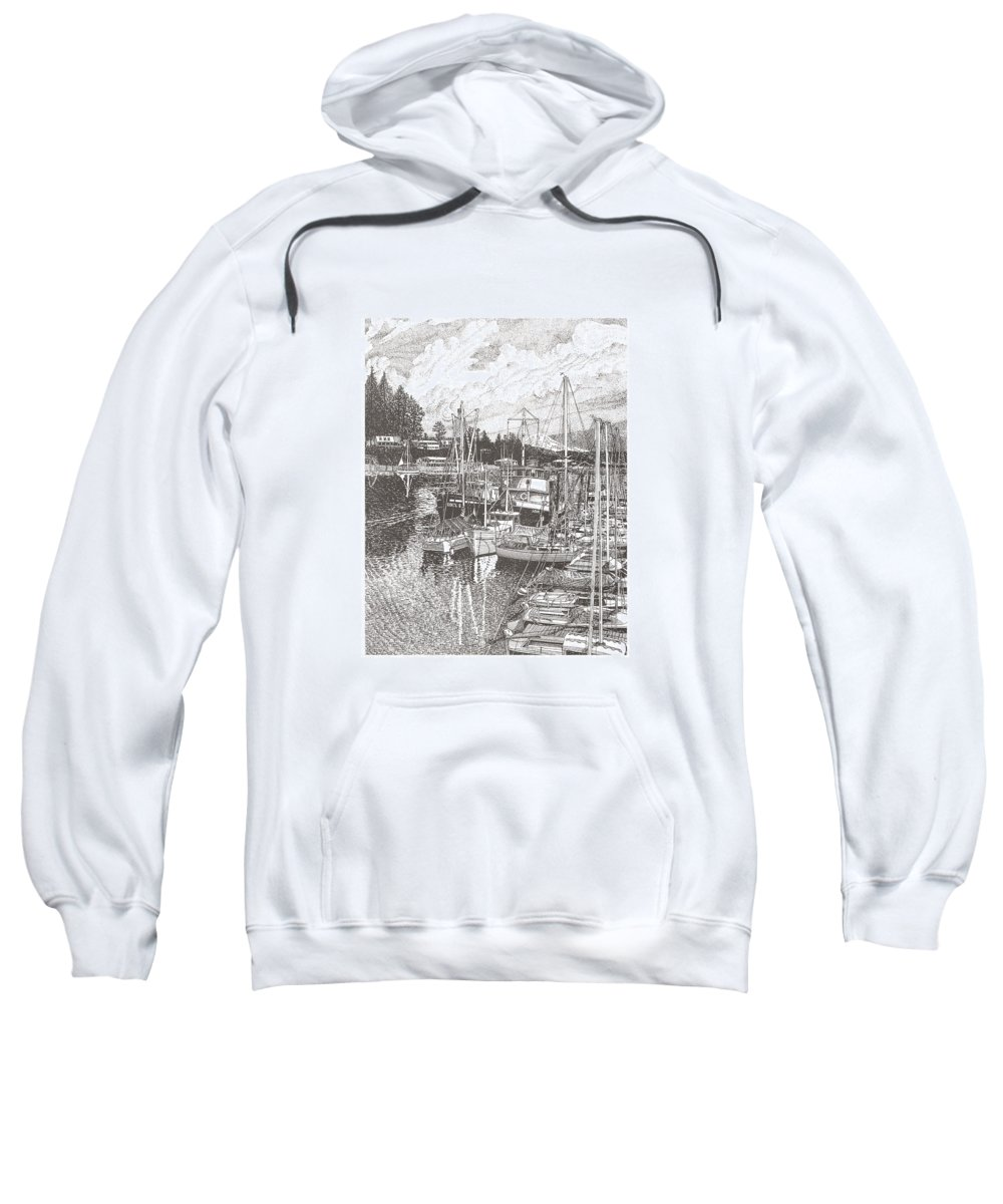Yacht Portraits Sweatshirt featuring the drawing Gig Harbor Entrance by Jack Pumphrey