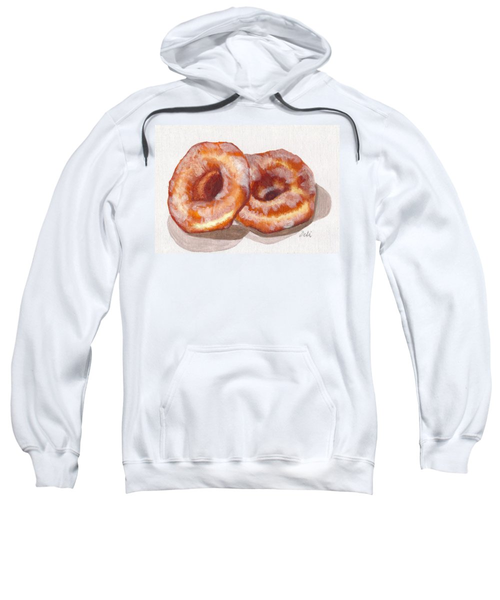 Glazed Donuts Sweatshirt featuring the painting Glazed Donuts by Debi Starr