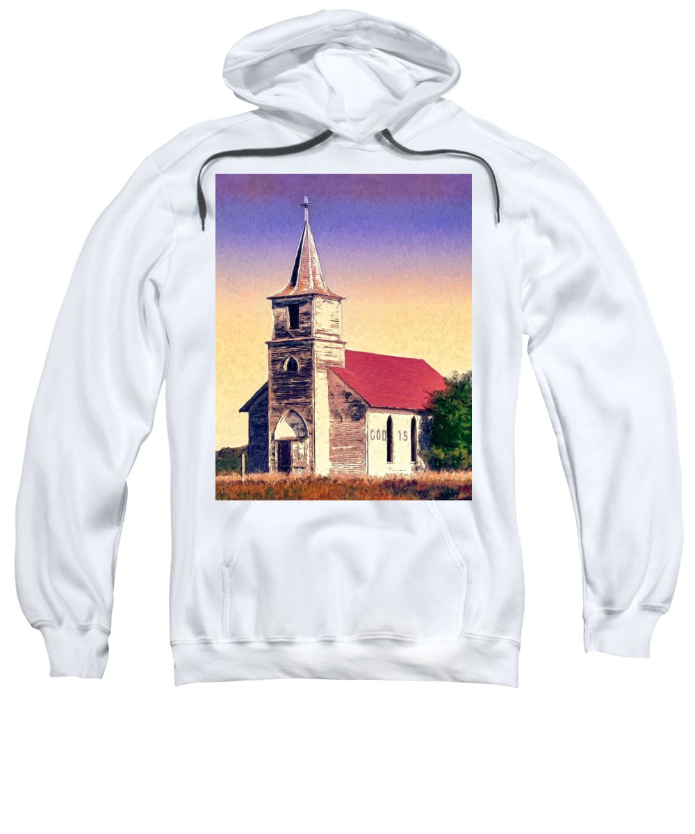 Church Sweatshirt featuring the painting God Is by Dominic Piperata