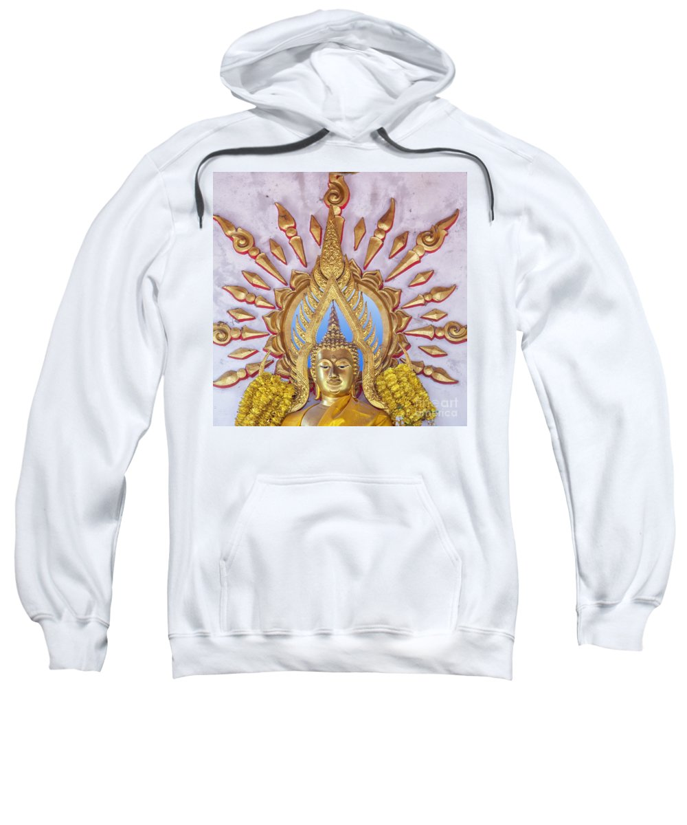 Religion Sweatshirt featuring the photograph Golden Buddha Statue by Sophie McAulay