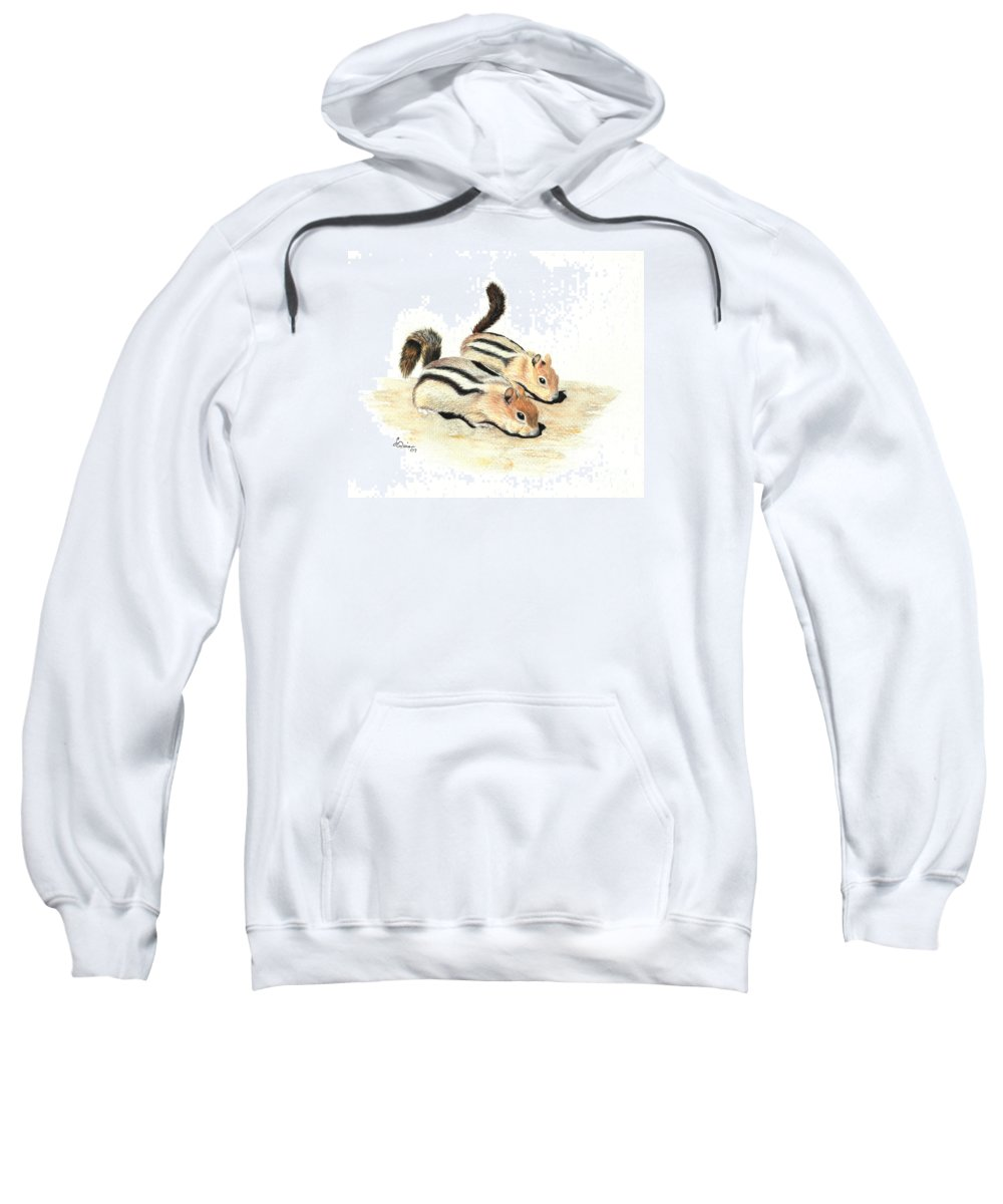 Nature Sweatshirt featuring the painting Golden-mantled Ground Squirrels by Lynn Quinn