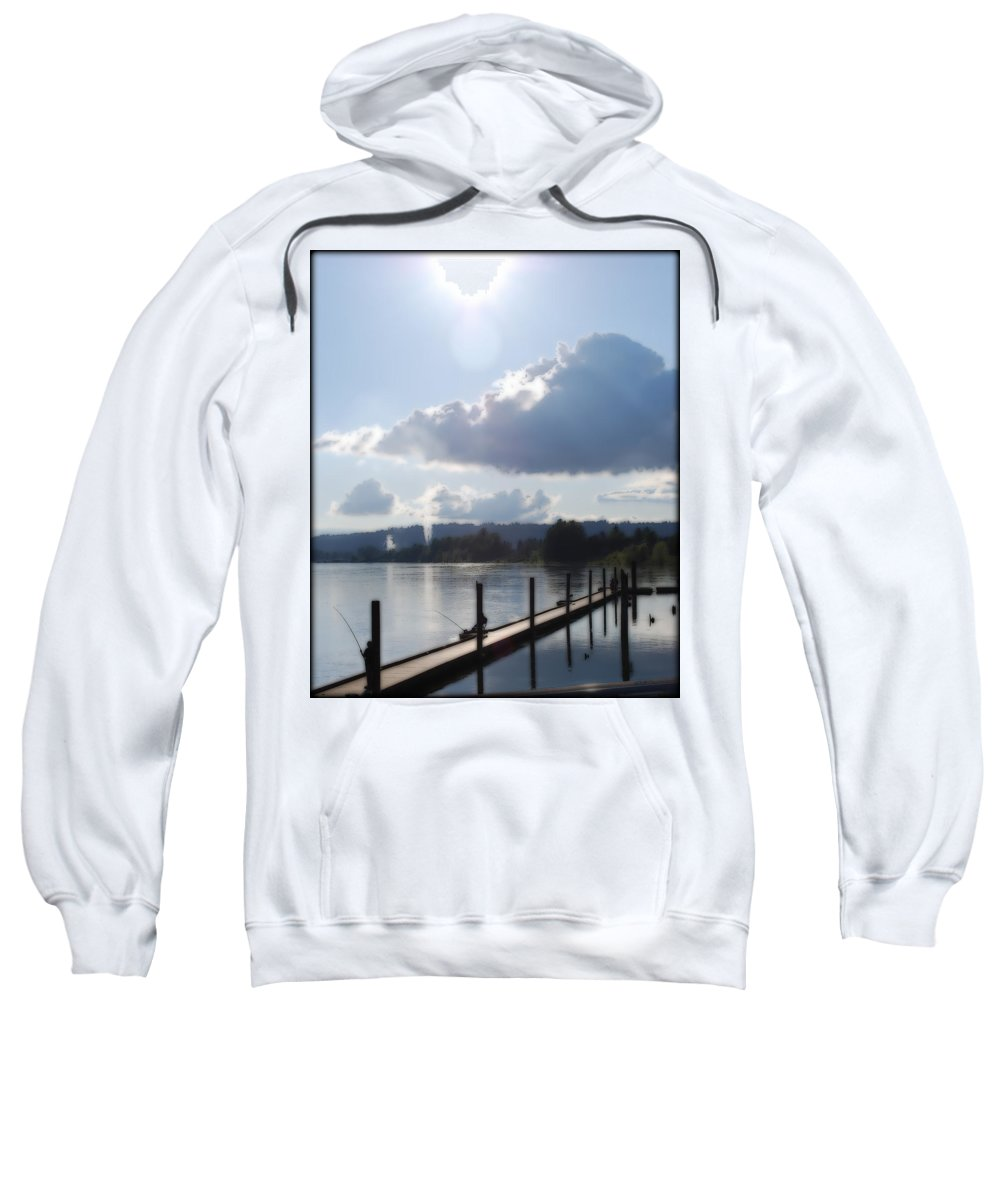 Dock Sweatshirt featuring the photograph Gone Fishing by Kathy Sampson