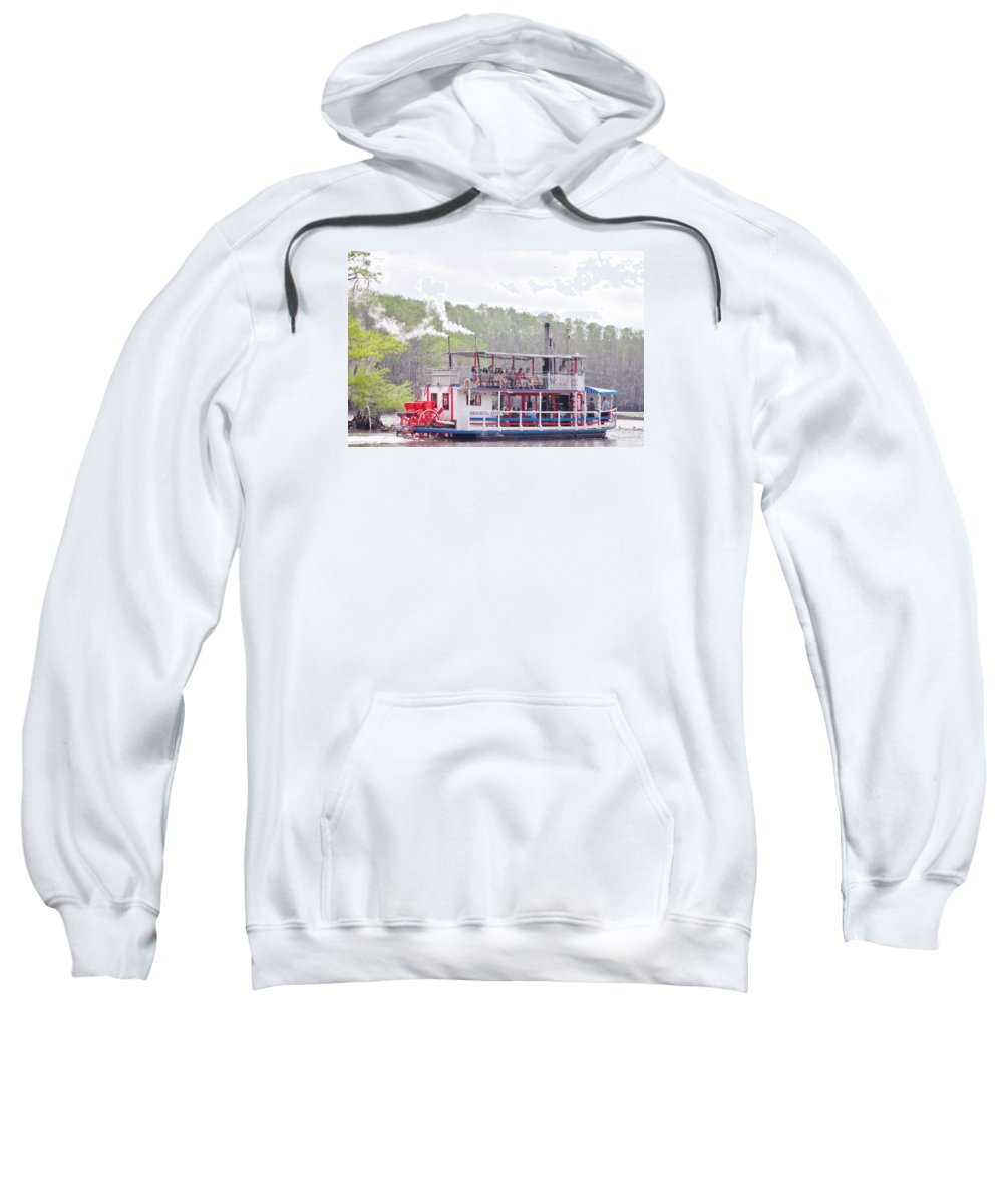 Steamboats Sweatshirt featuring the photograph Graceful Ghost Steamboat by Donna Wilson
