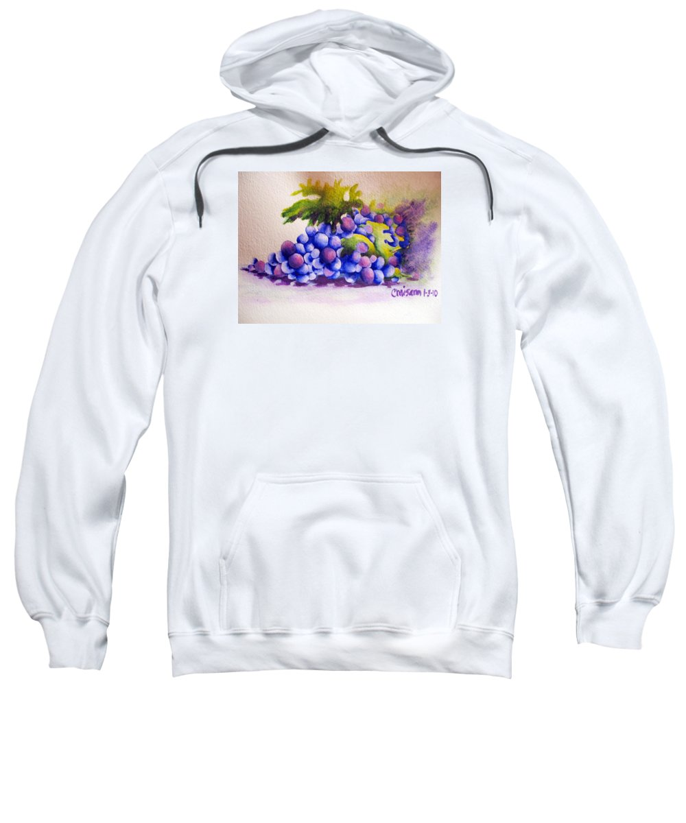 Fine Art Painting Sweatshirt featuring the painting Grapes by Chrisann Ellis