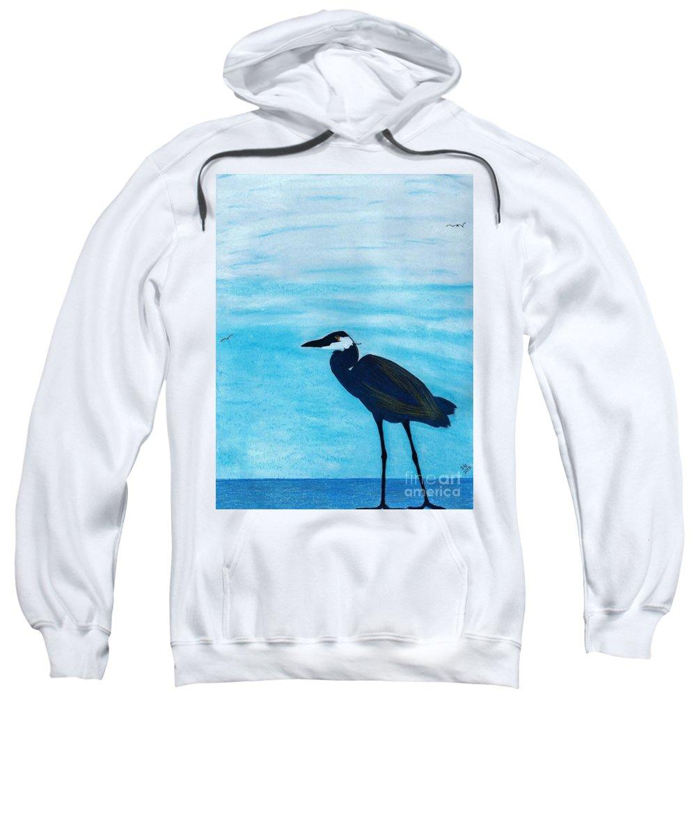 Heron Sweatshirt featuring the drawing Great Blue Heron by D Hackett