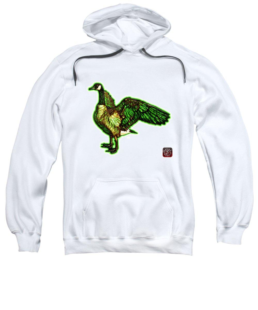 Canada Goose Sweatshirt featuring the mixed media Green Canada Goose Pop Art - 7585 - Wb by James Ahn