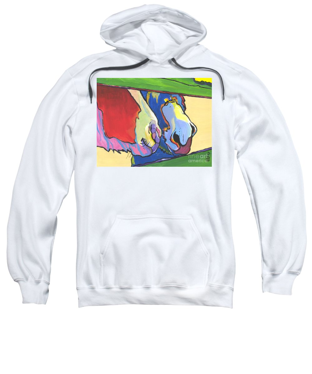 Pat Saunders-white Canvas Prints Sweatshirt featuring the painting Green Fence by Pat Saunders-White