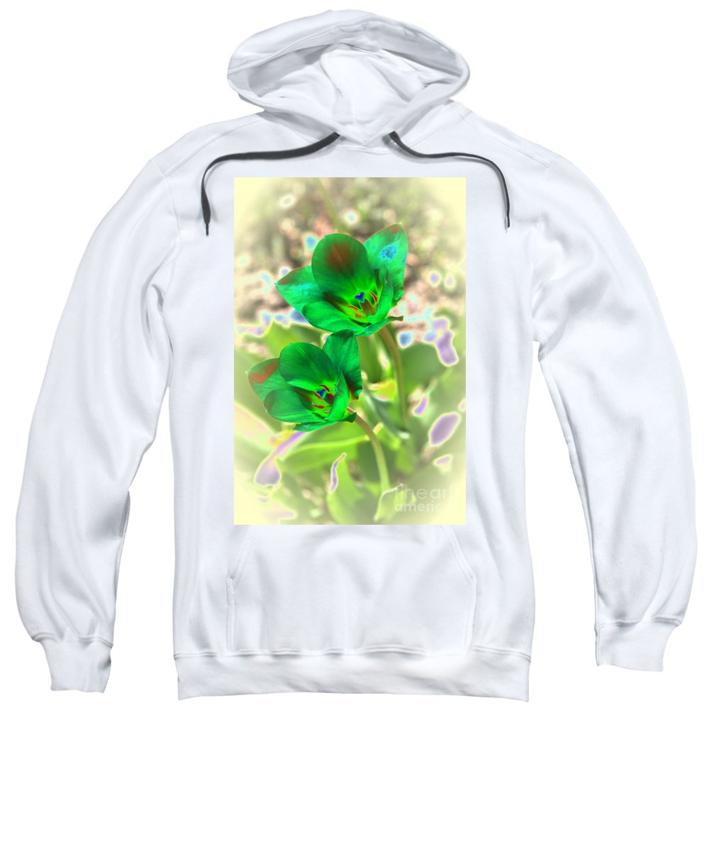 Tulips Sweatshirt featuring the photograph Green Tulips by Christiane Schulze Art And Photography