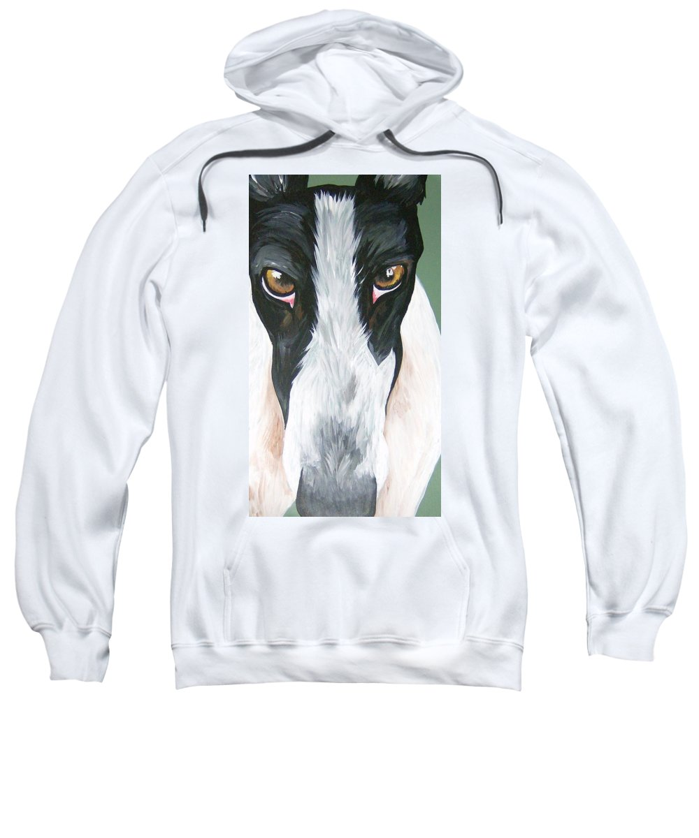 Greyhounds Sweatshirt featuring the painting Greyhound Eyes by Leslie Manley
