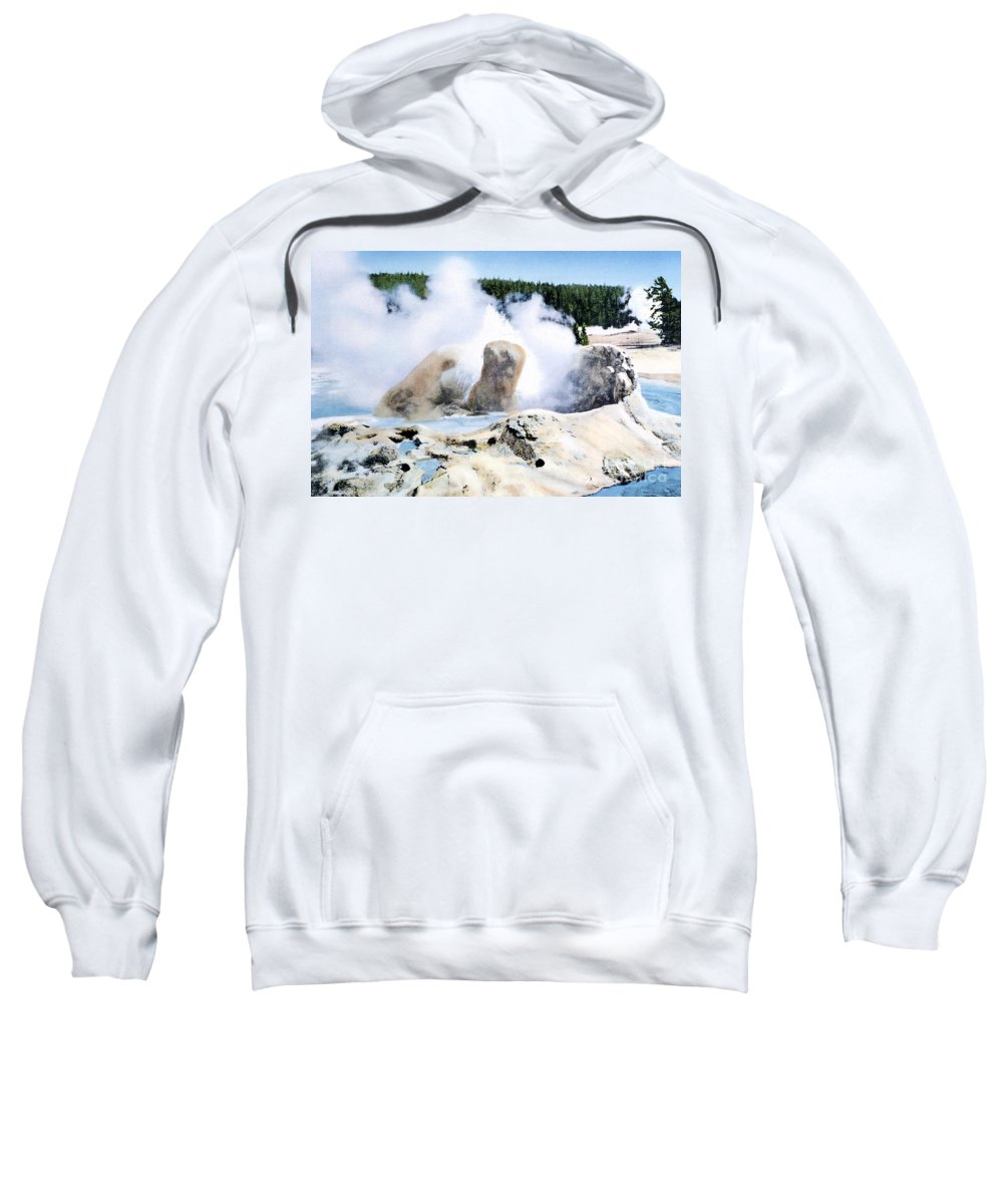 Grotto Geyser Sweatshirt featuring the photograph Grotto Geyser Yellowstone Np by NPS Photo Frank J Haynes