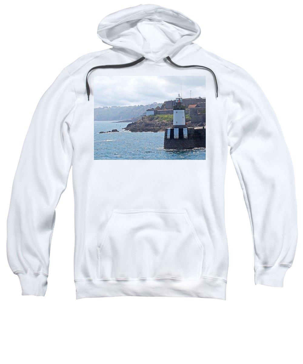 Coastal Scene Sweatshirt featuring the photograph Guernsey Lighthouse by Gill Billington
