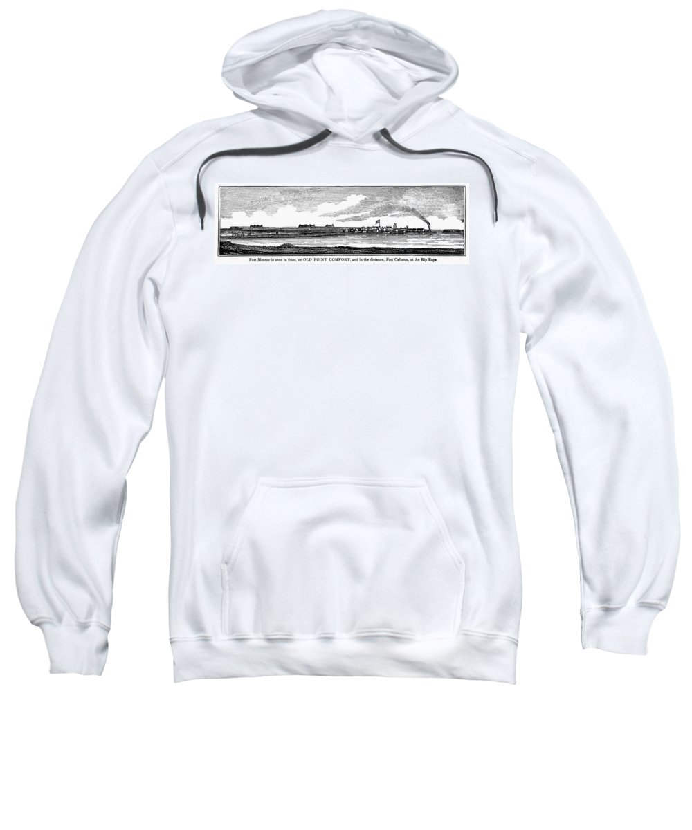 1856 Sweatshirt featuring the painting Hampton, Virginia Forts by Granger