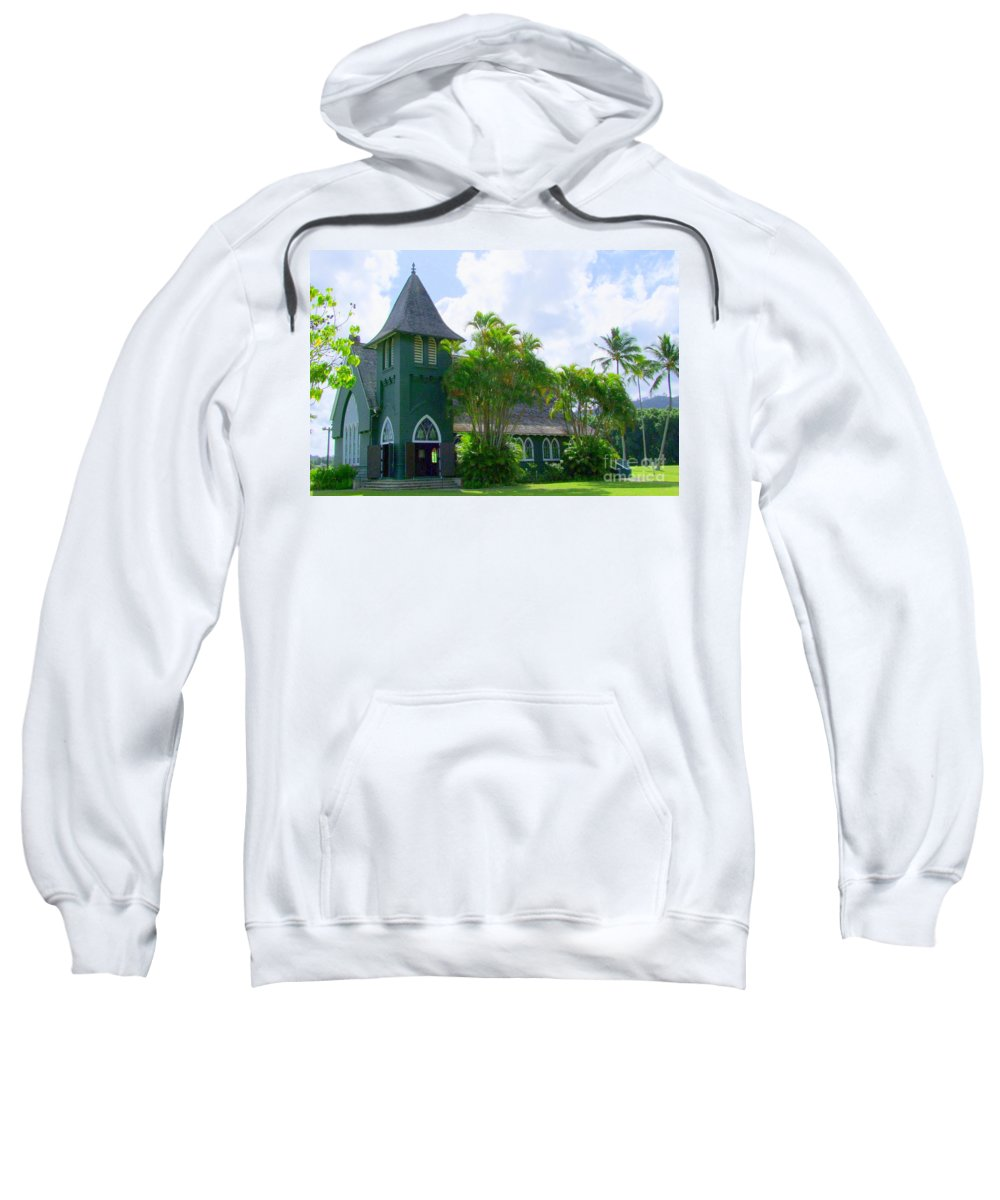 Church Sweatshirt featuring the photograph Hanalei Church by Mary Deal