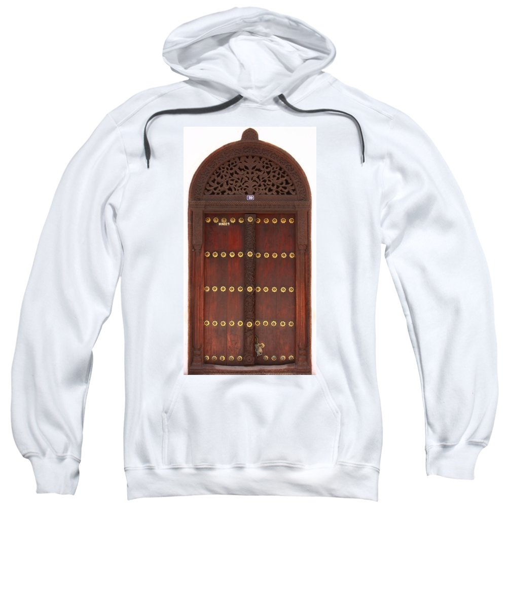 Door Sweatshirt featuring the photograph Hand Carved Door by Aidan Moran