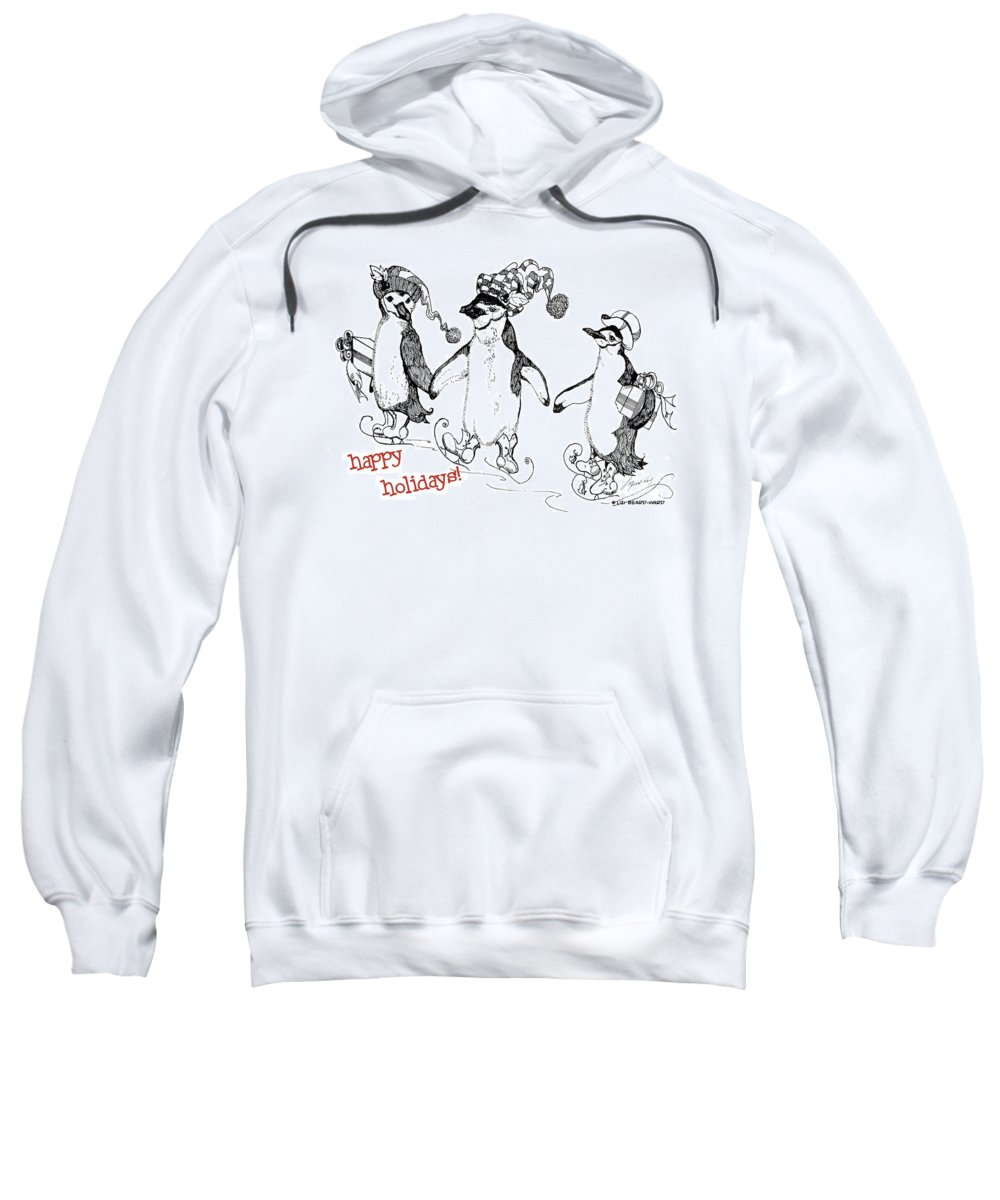 Holiday Card Sweatshirt featuring the drawing Happy Holidays by Lizi Beard-Ward
