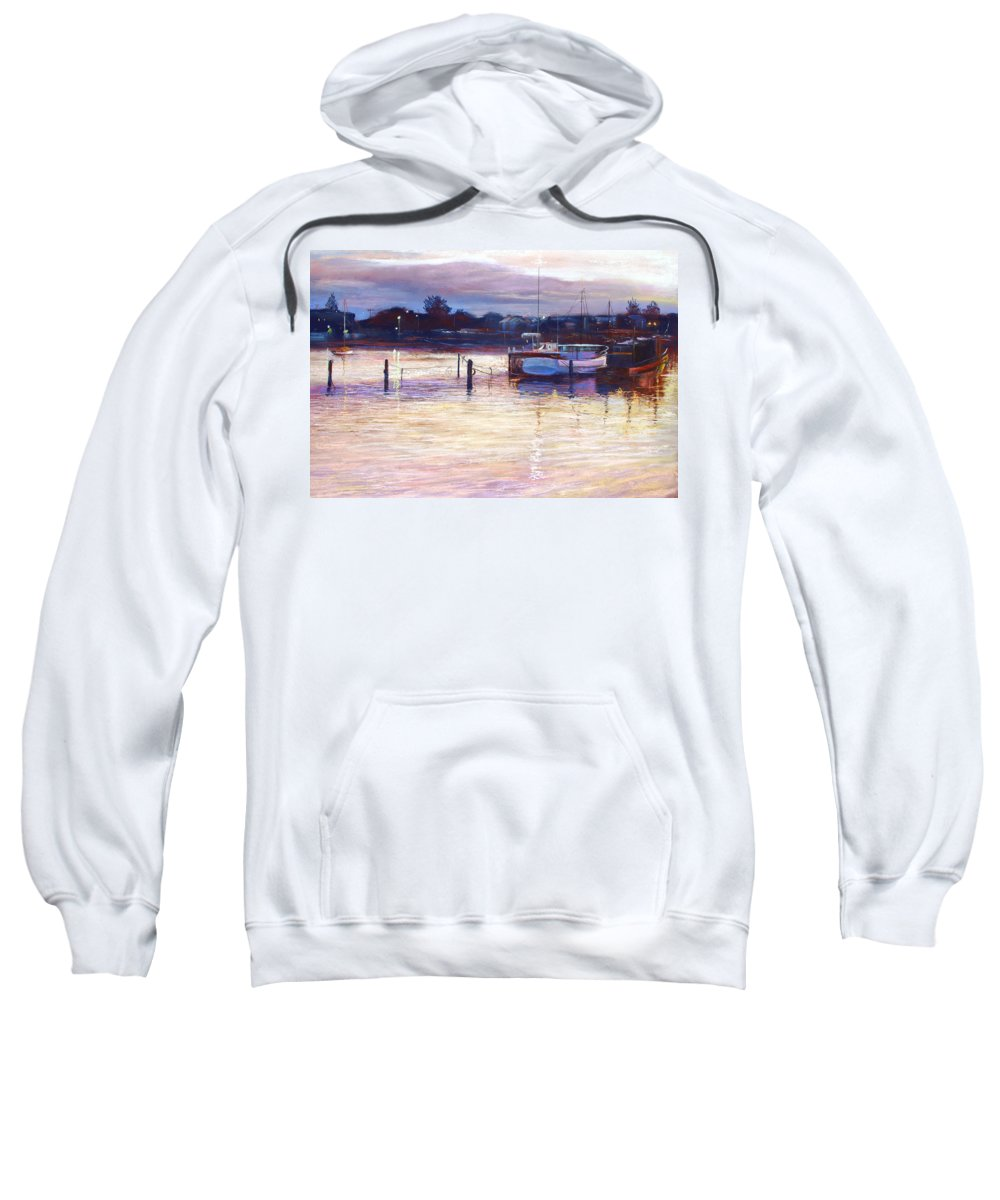 Lynda Robinson Sweatshirt featuring the pastel Harbour Lights - Apollo Bay by Lynda Robinson