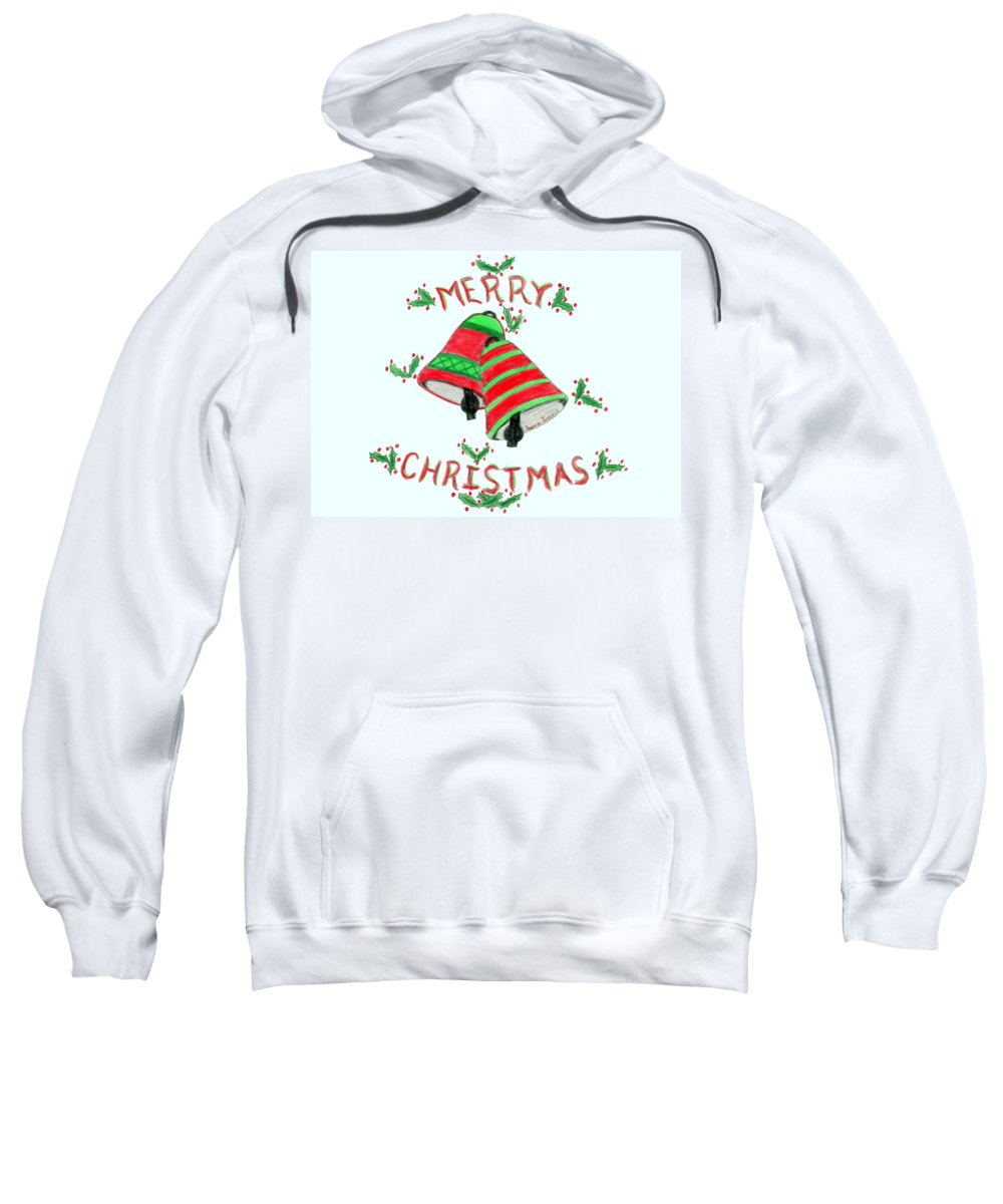 Merry Christmas Sweatshirt featuring the drawing Merry Christmas by Susan Turner Soulis