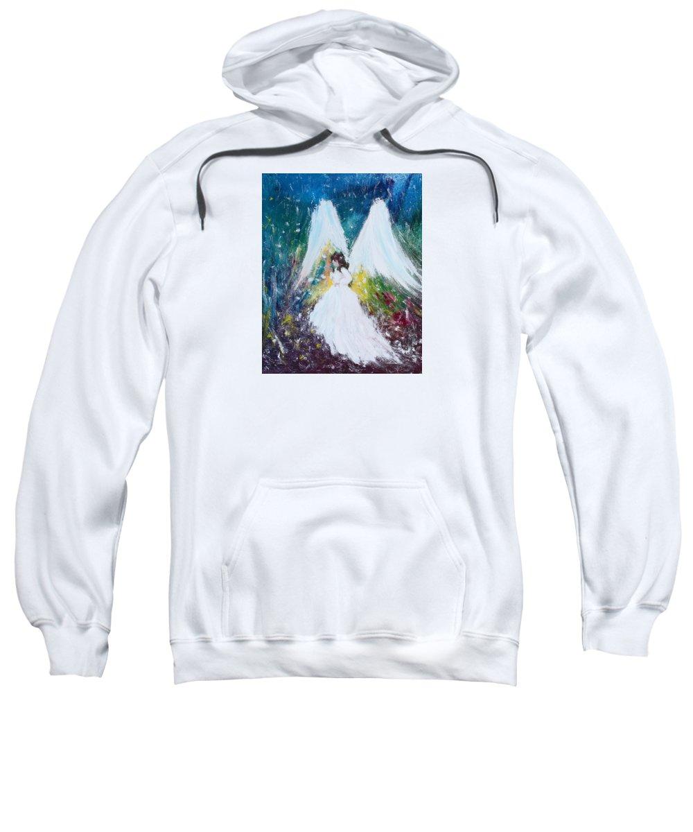 Heavenly Sweatshirt featuring the painting Healing Angel 2 by Kume Bryant