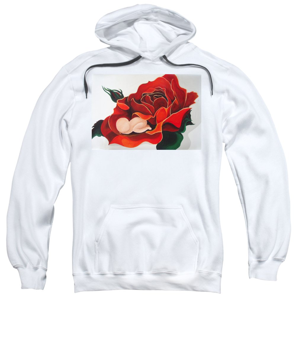 Healing Painting Sweatshirt featuring the painting Healing Painting Baby Sleeping In A Rose by Catt Kyriacou