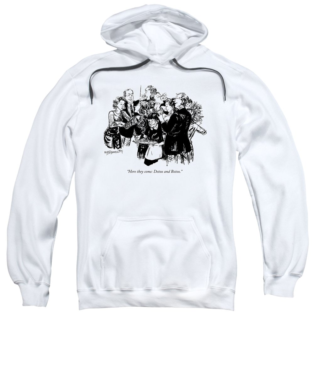 Detox Sweatshirt featuring the drawing Here They Come: Detox And Botox by William Hamilton