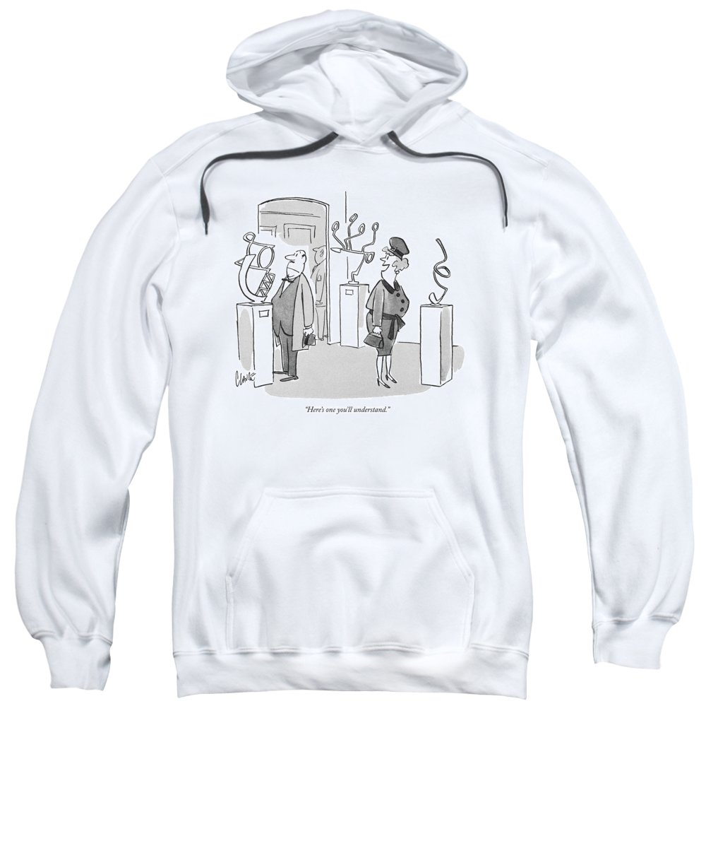 (wife To Husband In Art Gallery Sweatshirt featuring the drawing Here's One You'll Understand by Claude Smith