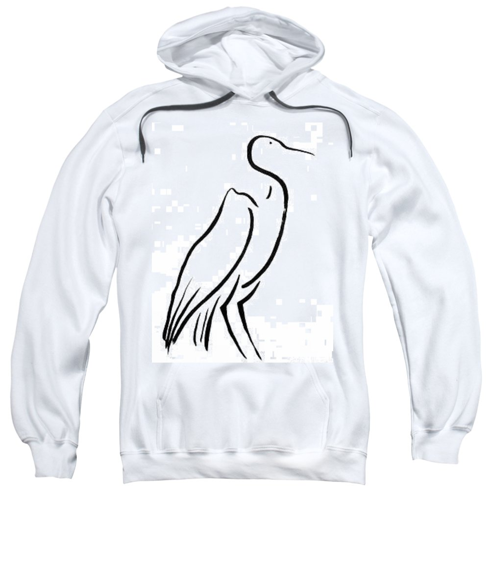 Calligraphy Sweatshirt featuring the drawing Heron by Micah Guenther