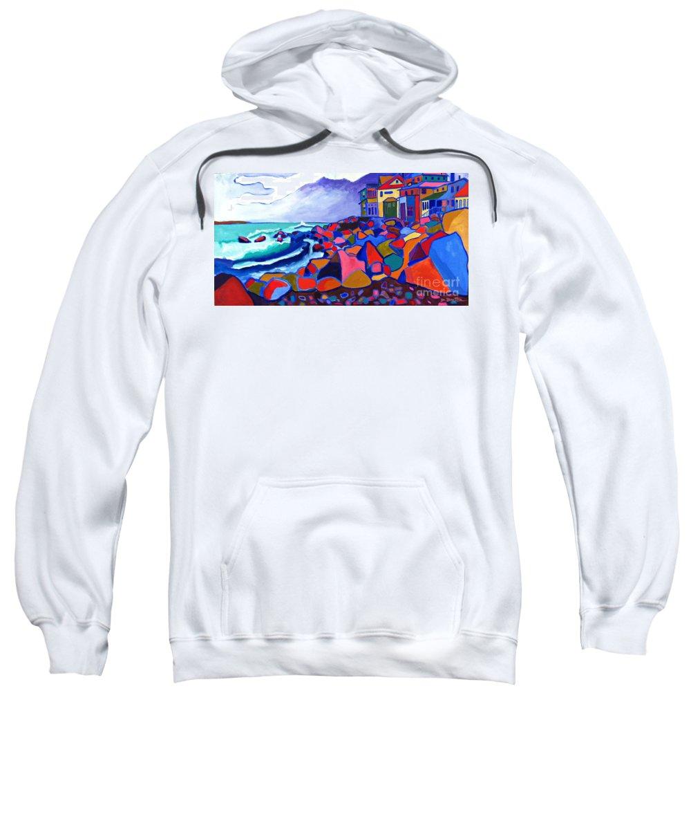 Landscape Sweatshirt featuring the painting High Tide Boars Head NH by Debra Bretton Robinson