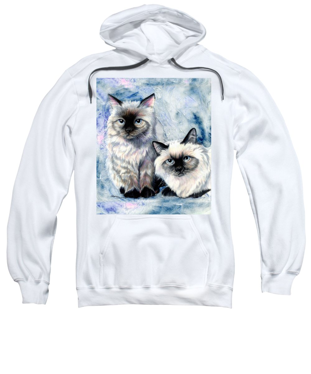 Cat Sweatshirt featuring the painting Himalayan Duo by Sherry Shipley