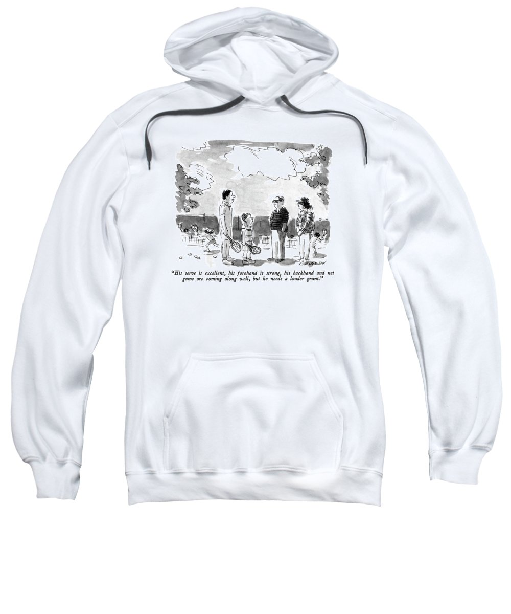 Sports Sweatshirt featuring the drawing His Serve Is Excellent by James Stevenson