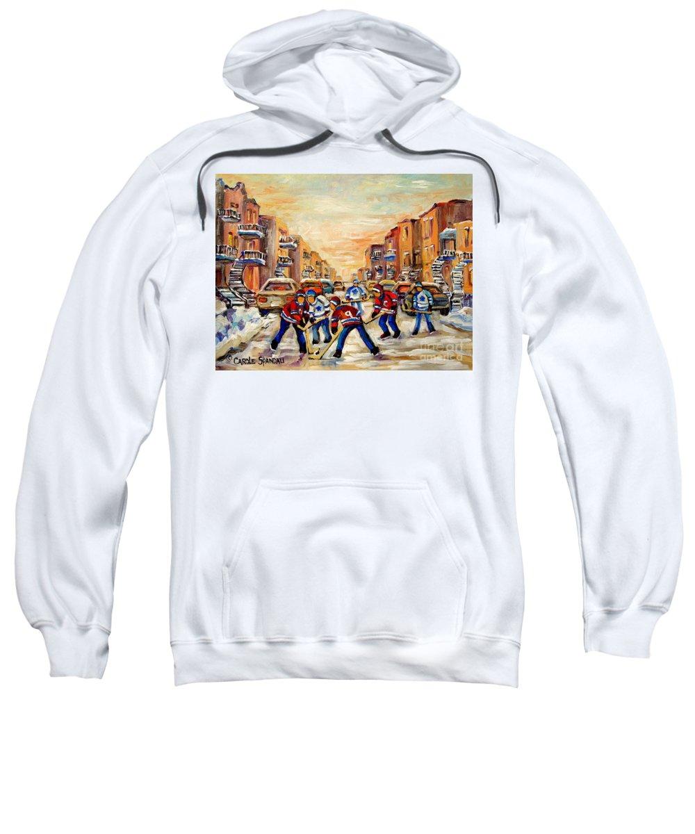 Hockey Daze Sweatshirt featuring the painting Hockey Daze by Carole Spandau