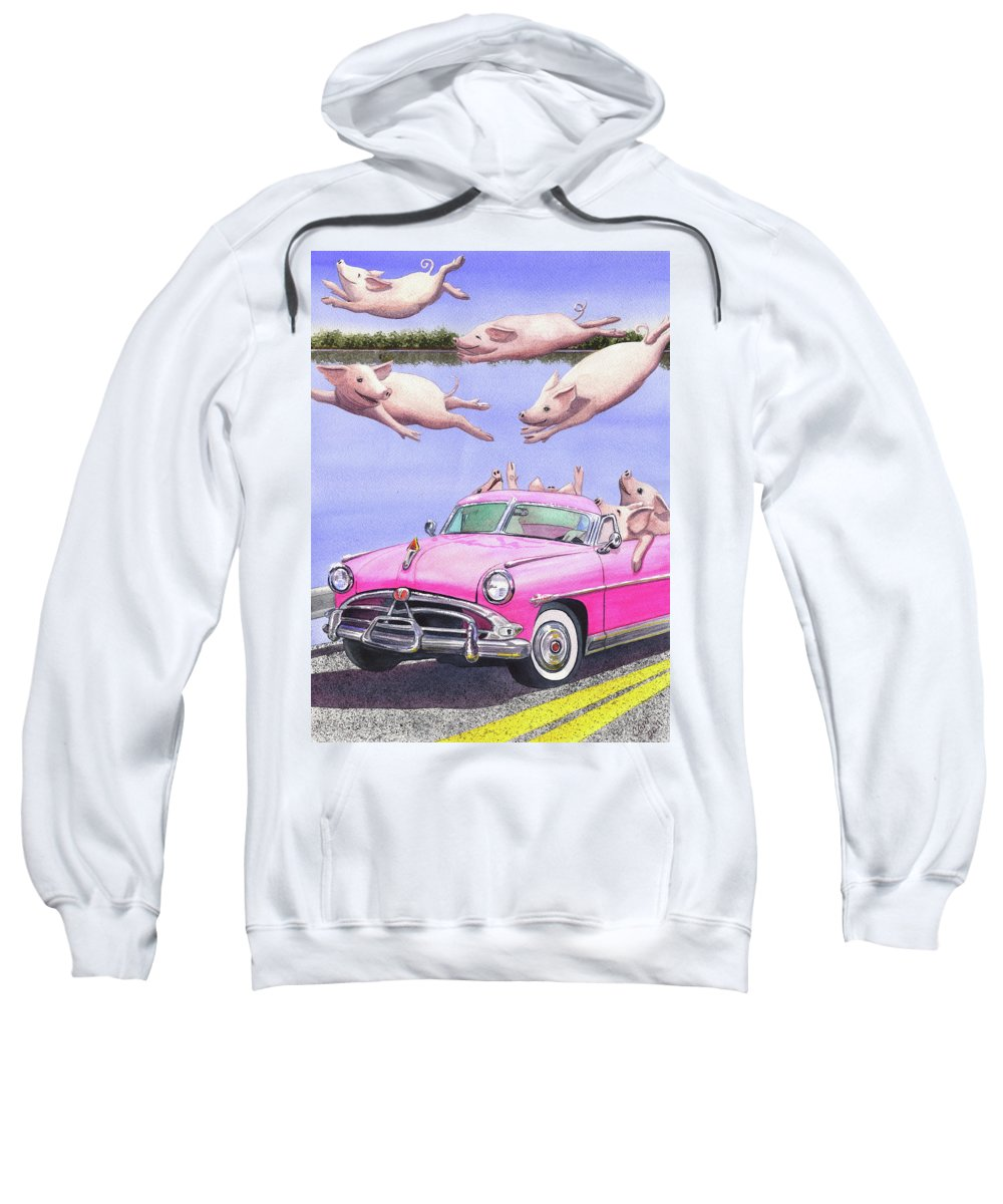 Swine Sweatshirt featuring the painting Hogs In A Hot Pink Hudson Hornet by Catherine G McElroy