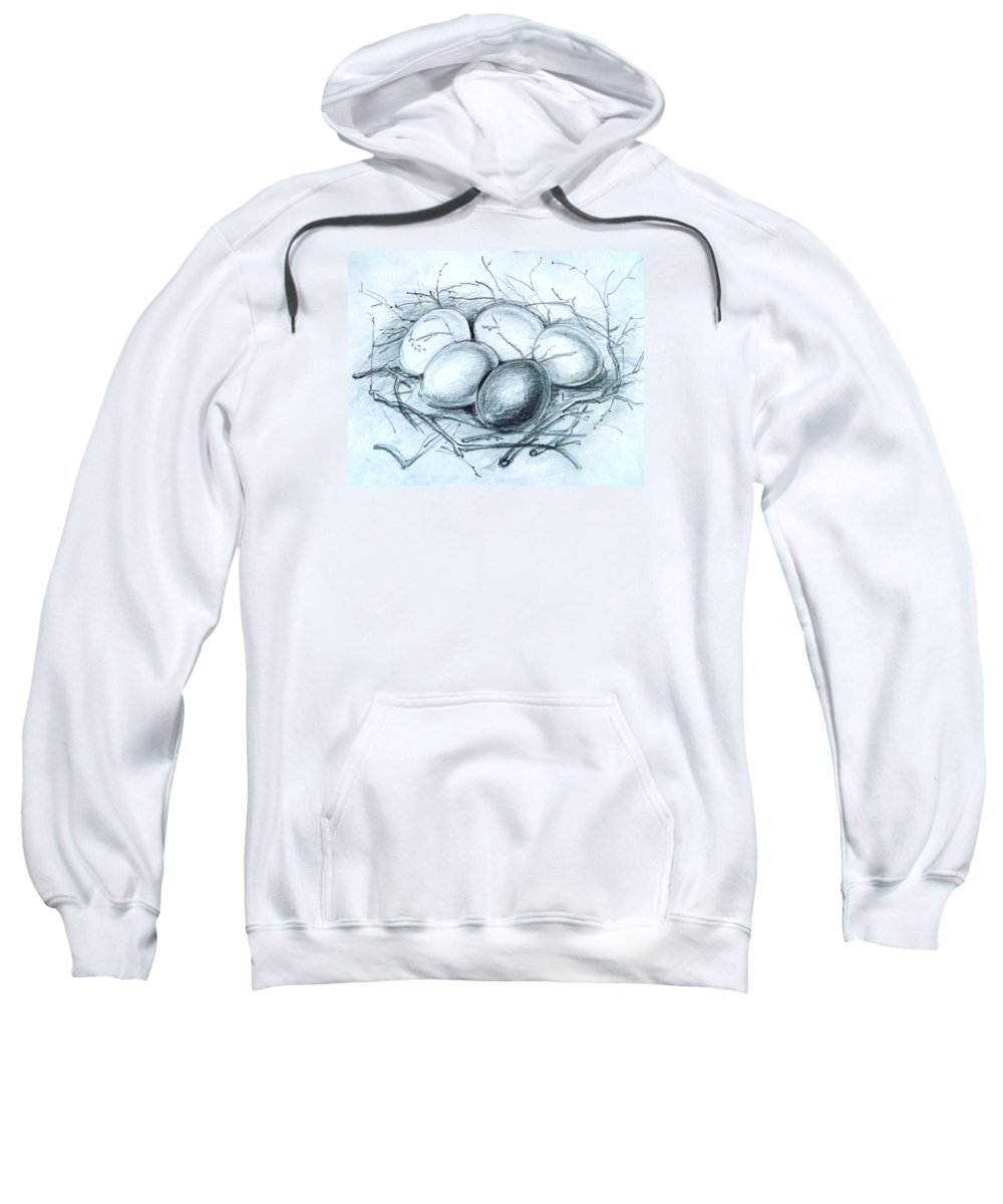 Home Sweatshirt featuring the drawing Home - Existence by Hedwig Pen