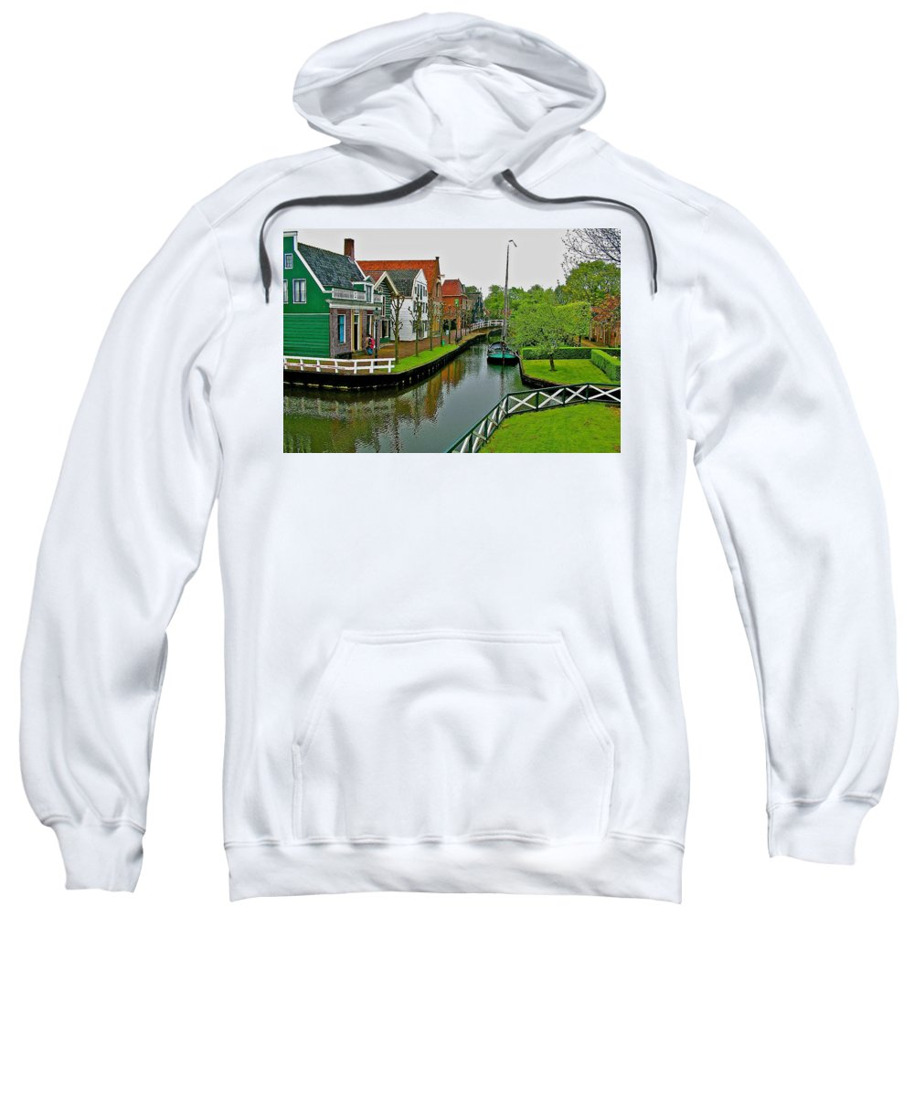 Homes Near The Dike In Enkhuizen Sweatshirt featuring the photograph Homes Near The Dike In Enkhuizen-netherlands by Ruth Hager