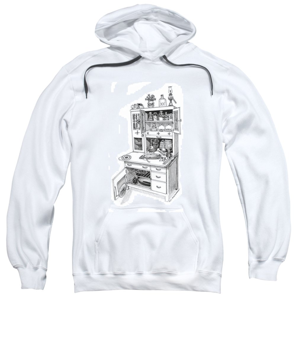 A Hoosier Cabinet (also Known As A hoosier) Is A Type Of Cupboard Popular In 1910- 1930s Sweatshirt featuring the drawing Hoosier Kitchen by Jack Pumphrey