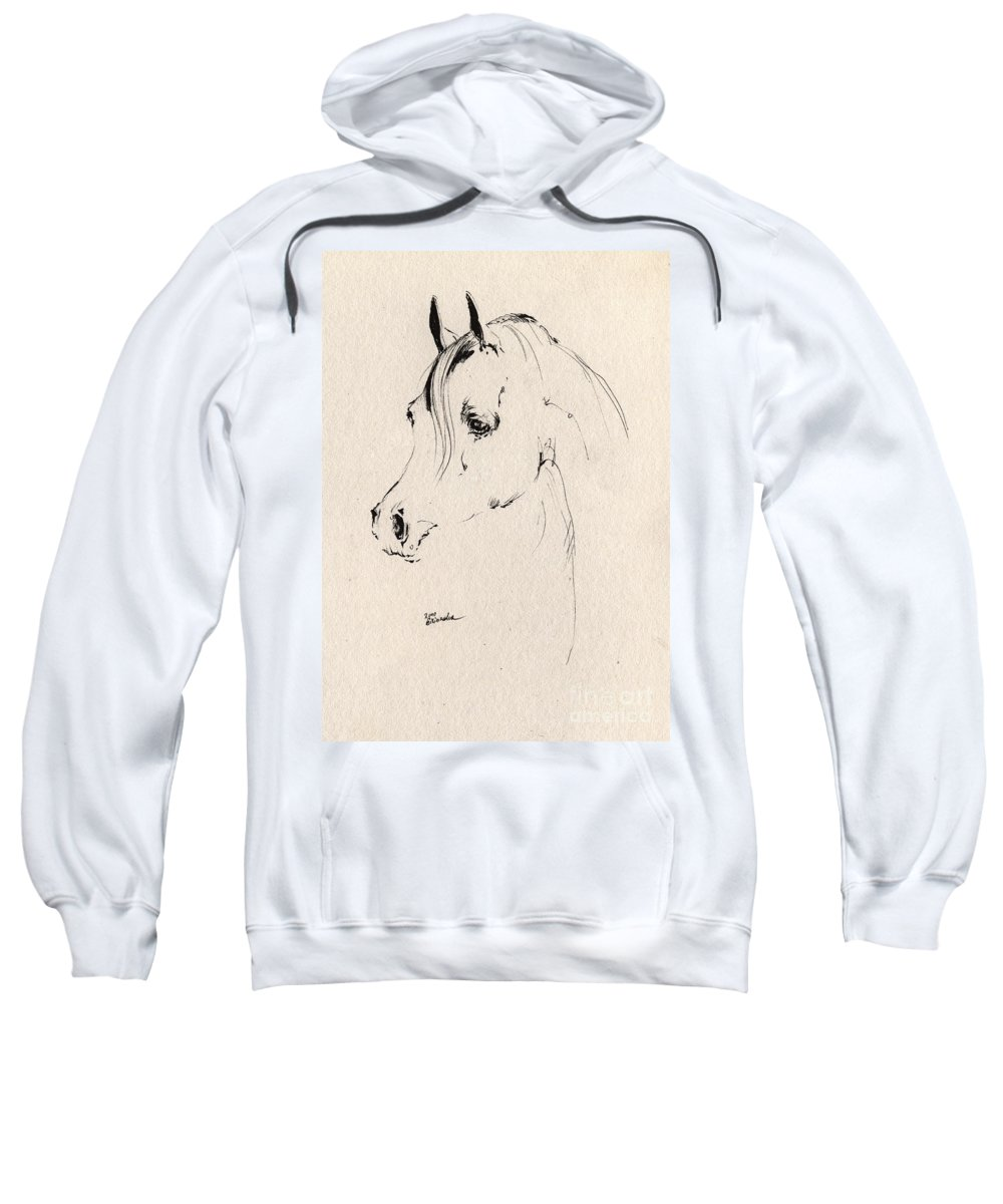 Horse Sweatshirt featuring the drawing Horse Head Sketch by Angel Ciesniarska