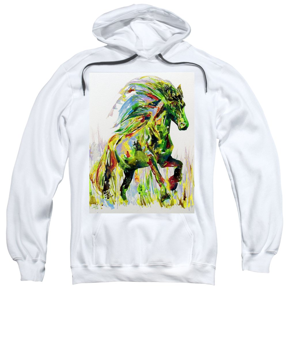 Horse Sweatshirt featuring the painting Horse Painting.26 by Fabrizio Cassetta