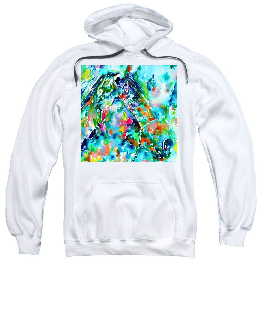 Horse Sweatshirt featuring the painting Horse Painting.30 by Fabrizio Cassetta