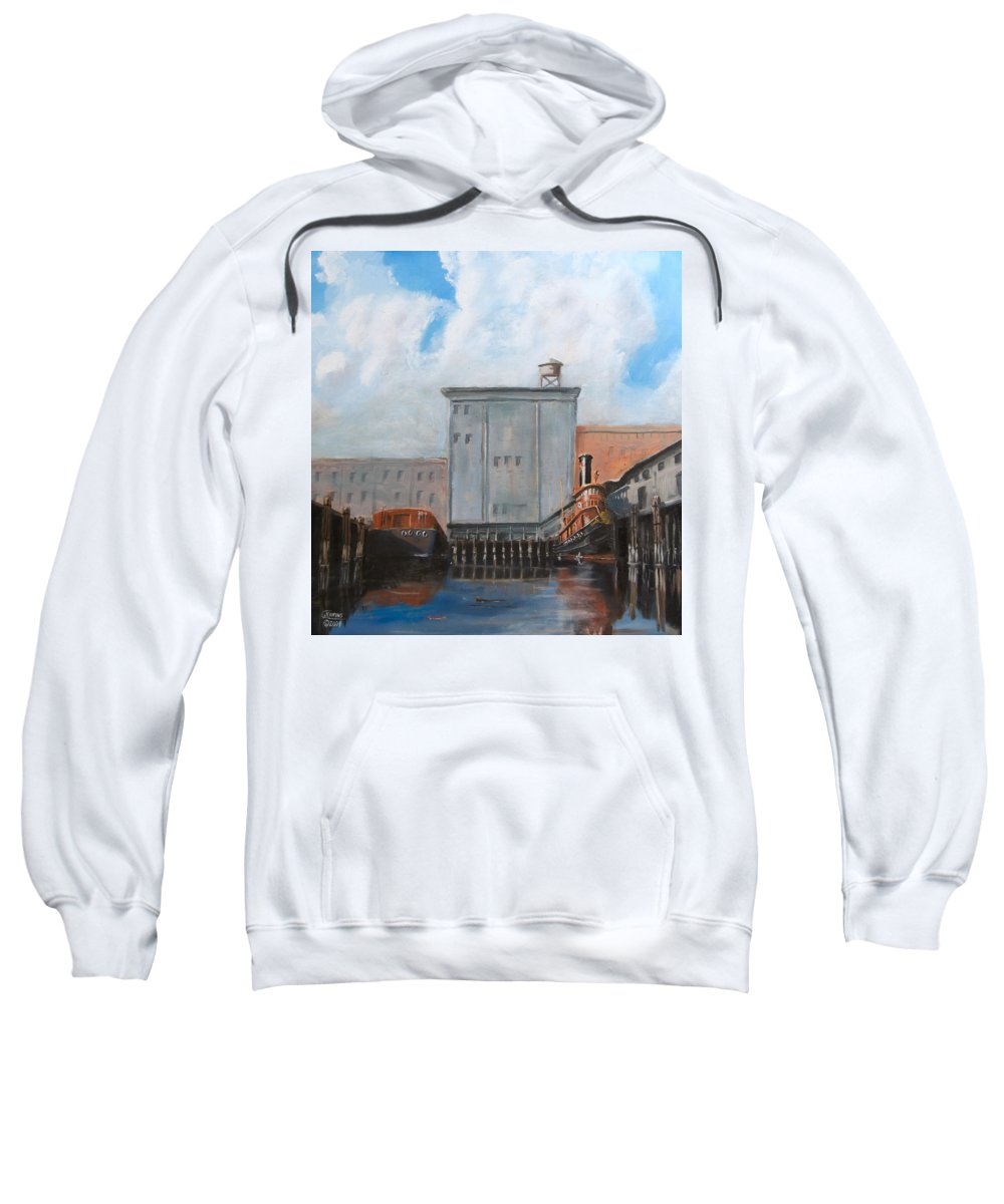 Ny Sweatshirt featuring the painting Hudson River Still Life by Christopher Jenkins